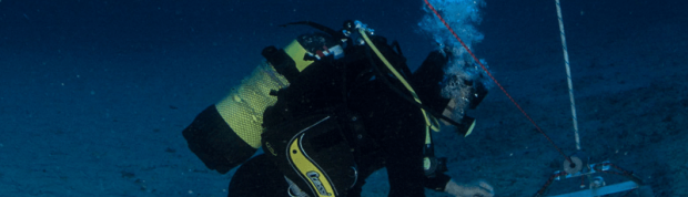 Diver installing an ADCP currentmeter mooring